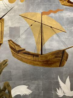 A Pair of French Gilt Painted and Lacquer Nautical Scene Panels - 1817935