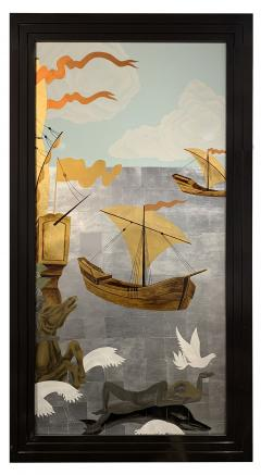 A Pair of French Gilt Painted and Lacquer Nautical Scene Panels - 1817936