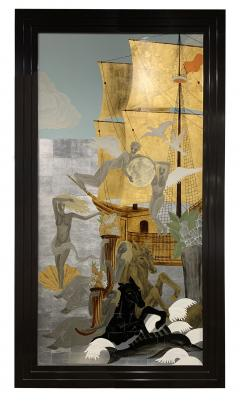 A Pair of French Gilt Painted and Lacquer Nautical Scene Panels - 1817938