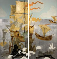 A Pair of French Gilt Painted and Lacquer Nautical Scene Panels - 1818817