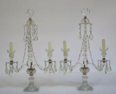 A Pair of George III Crystal Two Light Candelabra - 1912456