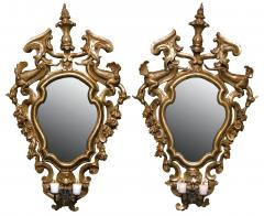 A Pair of Gilded Fir Wood Mirror Sconces with Wrought Iron Candle Arms - 116951