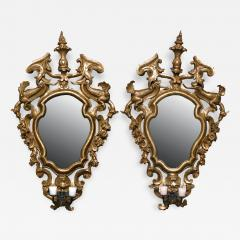 A Pair of Gilded Fir Wood Mirror Sconces with Wrought Iron Candle Arms - 118474