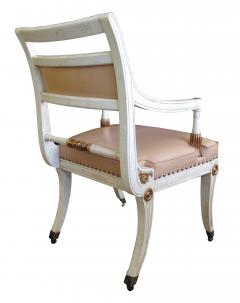 A Pair of Hollywood Regency Ivory Painted and Parcel Gilt Klismos Armchairs - 201536