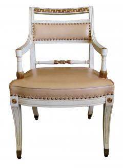 A Pair of Hollywood Regency Ivory Painted and Parcel Gilt Klismos Armchairs - 201537