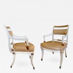 A Pair of Hollywood Regency Ivory Painted and Parcel Gilt Klismos Armchairs - 248147