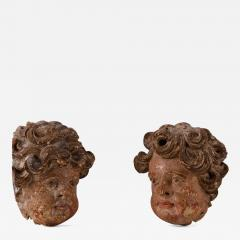 A Pair of Late Baroque Carved Cherub Heads French ca 1720 - 921003
