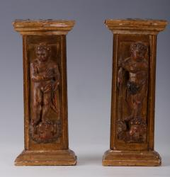 A Pair of Late Renaissance Tabernacle Pilasters Spanish 16th C  - 153878