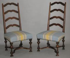 A Pair of Louis XIII Ladder Back Walnut Chairs - 272305