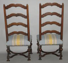 A Pair of Louis XIII Ladder Back Walnut Chairs - 272306