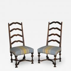 A Pair of Louis XIII Ladder Back Walnut Chairs - 273185