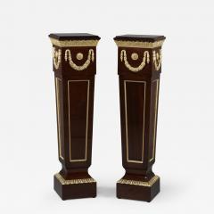 A Pair of Louis XVI Style Mahogany Pedestals - 1025546