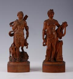 A Pair of Neoclassical Carvings of Apollo and Diana French ca 1780 - 153872