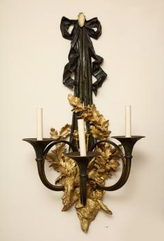 A Pair of Neoclassical Ormolu and Black Painted Three Light Sconce - 615986