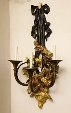 A Pair of Neoclassical Ormolu and Black Painted Three Light Sconce - 615987