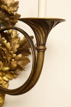 A Pair of Neoclassical Ormolu and Black Painted Three Light Sconce - 615992