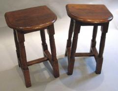 A Pair of Oak Choir or Joint Stools with Shaped Tops and Columnar Legs - 315358