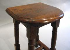 A Pair of Oak Choir or Joint Stools with Shaped Tops and Columnar Legs - 315362