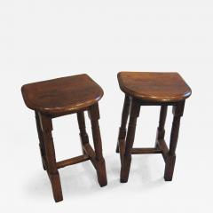 A Pair of Oak Choir or Joint Stools with Shaped Tops and Columnar Legs - 315630
