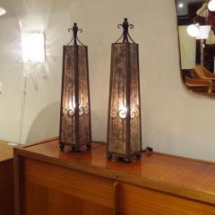 A Pair of Obelisk Shaped Table Lamps in Mica and Wrought Iron - 254901