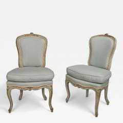 A Pair of Painted Wood Chairs chaises en cabriolet  - 123707