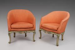 A Pair of Painted Wood Tub Chairs poltrone a pozzetto  - 118140