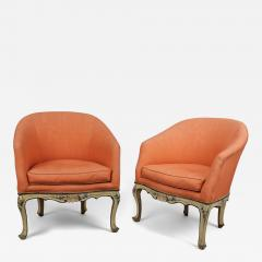 A Pair of Painted Wood Tub Chairs poltrone a pozzetto  - 122025