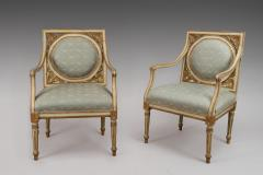 A Pair of Painted and Gilded Neoclassical Chairs - 118199