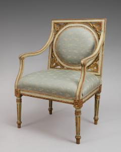 A Pair of Painted and Gilded Neoclassical Chairs - 118201