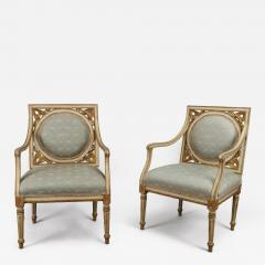 A Pair of Painted and Gilded Neoclassical Chairs - 122038