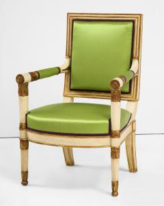 A Pair of Painted and Parcel Gilt Empire Armchairs - 2055715