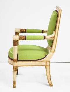 A Pair of Painted and Parcel Gilt Empire Armchairs - 2055716