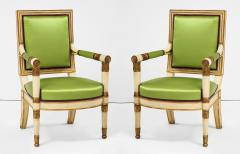 A Pair of Painted and Parcel Gilt Empire Armchairs - 2055717