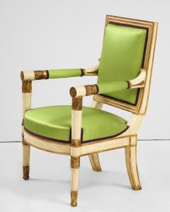 A Pair of Painted and Parcel Gilt Empire Armchairs - 2055718