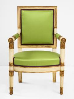 A Pair of Painted and Parcel Gilt Empire Armchairs - 2055719