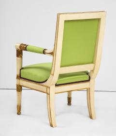 A Pair of Painted and Parcel Gilt Empire Armchairs - 2055720