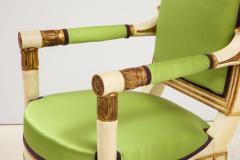 A Pair of Painted and Parcel Gilt Empire Armchairs - 2055723