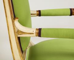 A Pair of Painted and Parcel Gilt Empire Armchairs - 2055724