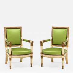 A Pair of Painted and Parcel Gilt Empire Armchairs - 2060106