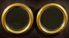 A Pair of Regency Giltwood Convex Mirrors - 874747