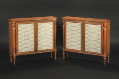 A Pair of Regency Style Satinwood Side Cabinets - 1023196