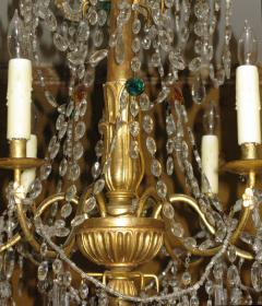 A Pair of Six Arm Carved and Gilded Wood Neoclassic Chandeliers - 269499