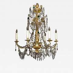 A Pair of Six Arm Carved and Gilded Wood Neoclassic Chandeliers - 270965