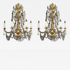 A Pair of Six Arm Carved and Gilded Wood Neoclassic Chandeliers - 270972