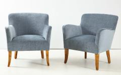 A Pair of Swedish Birchwood and Upholstered Club Chairs Circa 1940s - 1690199
