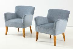 A Pair of Swedish Birchwood and Upholstered Club Chairs Circa 1940s - 1690201