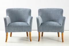 A Pair of Swedish Birchwood and Upholstered Club Chairs Circa 1940s - 1690202