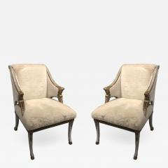A Pair of Swedish Blue Painted and Silver Gilt Arm Chairs - 1380066
