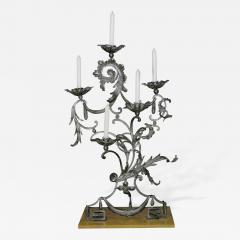 A Pair of Unusual and Fine Wrought Iron Neoclassic Candelabras - 194250