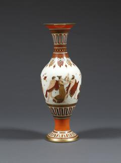 A Pair of White Opaline Glass Polychrome Enamel Vases In The Etruscan Style - 509232